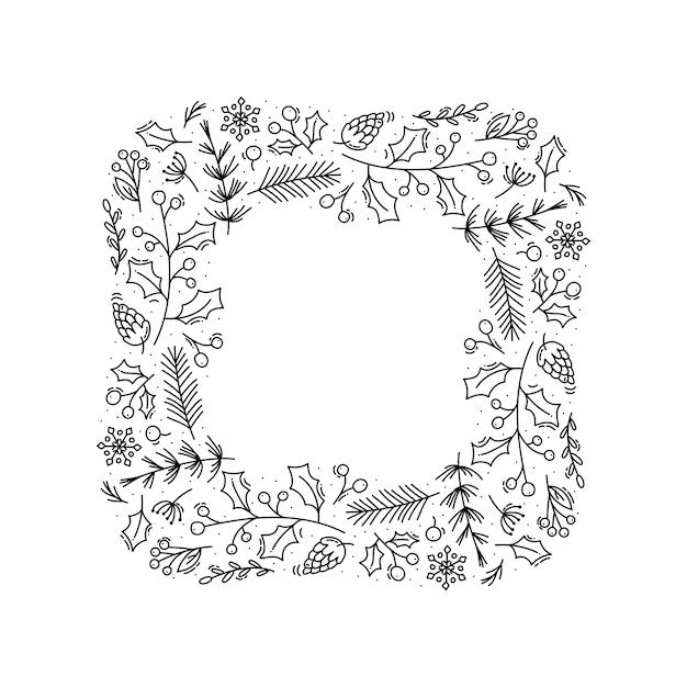 Kerst monoline vector krans frame met kegel takken, sneeuwvlokken en bessen Premium Vector