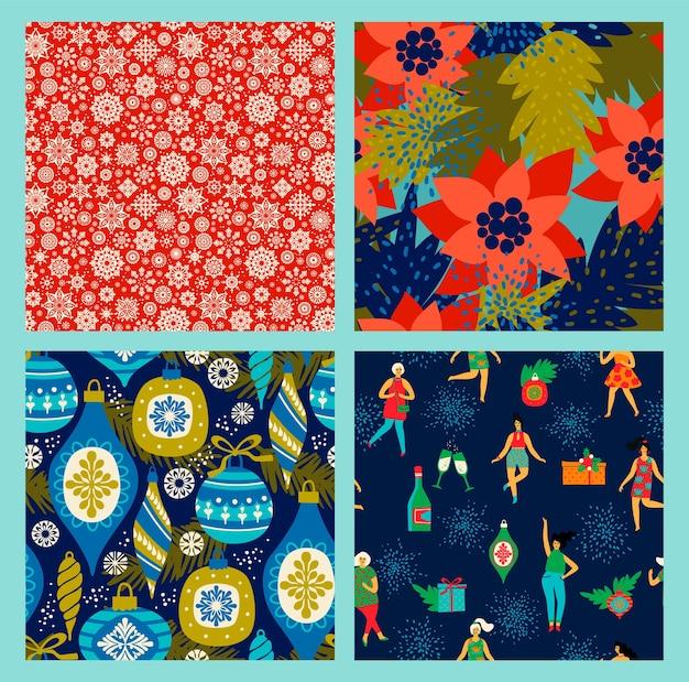 Kerst naadloze patronen met dansende vrouwen en nieuwjaar symbolen. trendy vintage stijl. retro feest. vector. Premium Vector