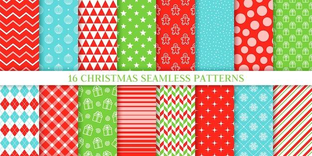 Kerst naadloze patroon collectie Premium Vector
