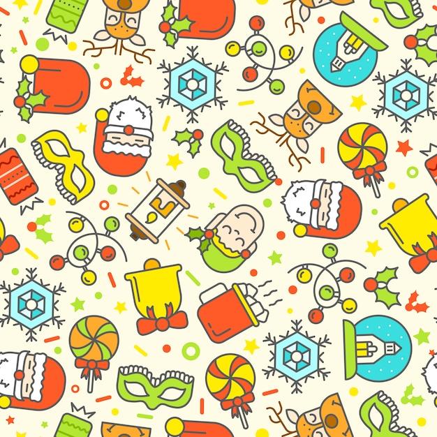 Kerst naadloze patroon met plat pictogrammen. Gratis Vector
