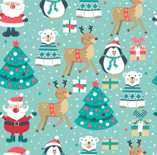 Kerst naadloze patroon met santa. Premium Vector