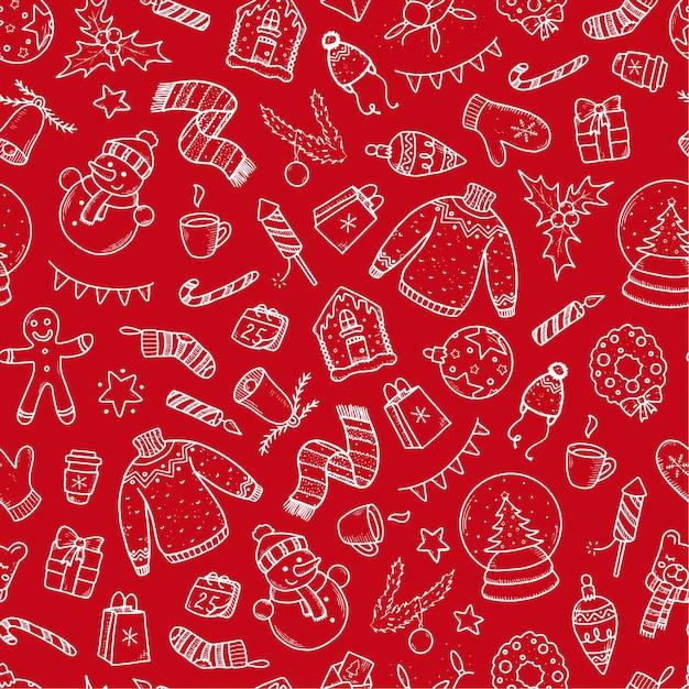 Kerst naadloze patroon op rode achtergrond Premium Vector