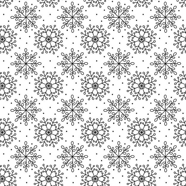 Kerst naadloze patroon. winter sneeuwvlok monoline Premium Vector
