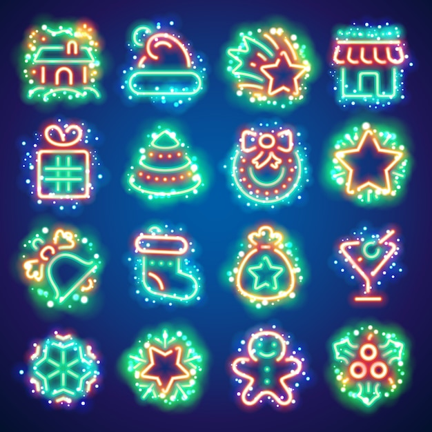 Kerst neon pictogrammen met magic sparkles Premium Vector