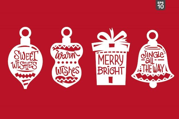 Kerst offerte set. snijbestand voor sticker en decoratie Premium Vector