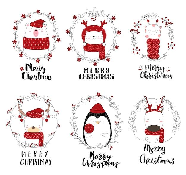 Kerst ontwerp met schattige dieren cartoon hand getrokken stijl Premium Vector
