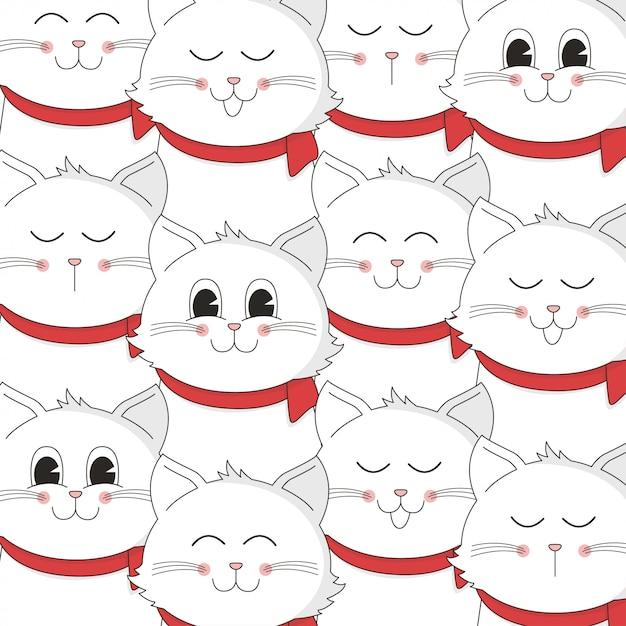 Kerst ontwerp met schattige kat cartoon patroon Premium Vector