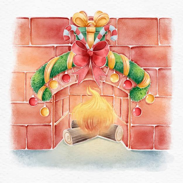 Kerst open haard scène concept in aquarel Gratis Vector