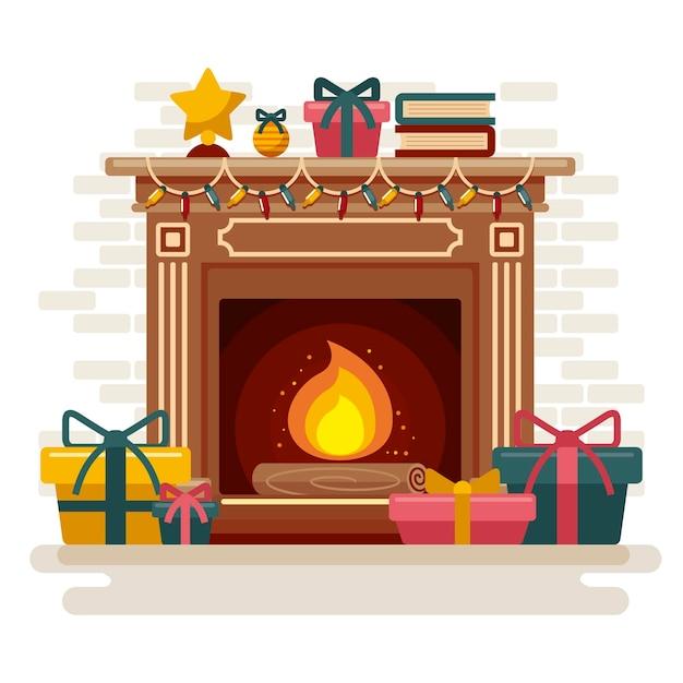 Kerst open haard scène in plat design Gratis Vector