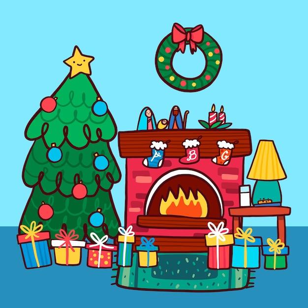 Kerst open haard scène met boom en krans Gratis Vector