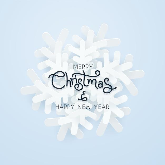 Kerst papier sneeuwvlok over blauwe achtergrond Premium Vector