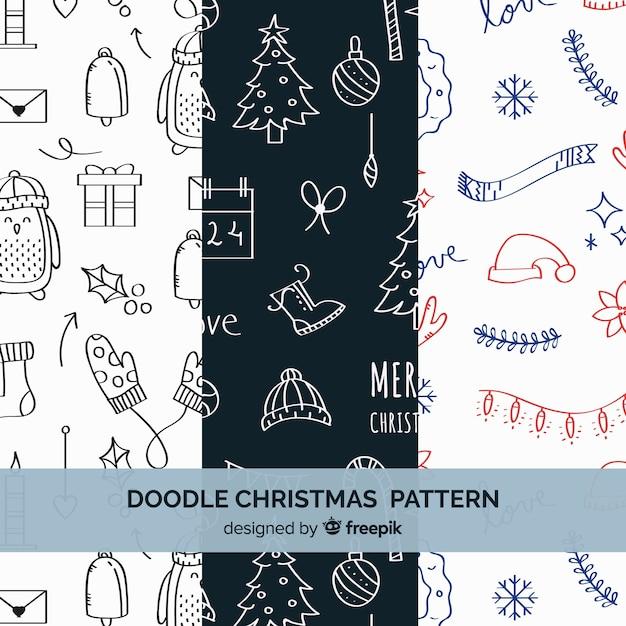 Kerst patroon collectie in de hand getrokken stijl Gratis Vector