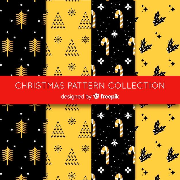 Kerst patroon collectie in platte ontwerp Gratis Vector