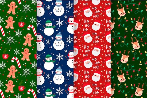 Kerst patroon collectie met peperkoek man en sneeuwpop Gratis Vector