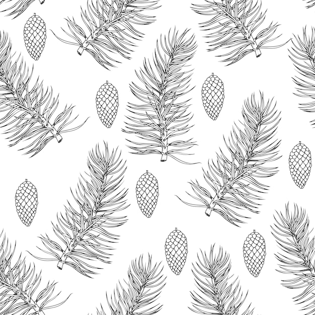 Kerst patroon met fir tree takken Premium Vector