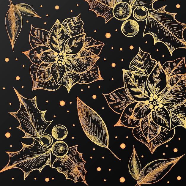 Kerst patroon met vintage bloemen Gratis Vector