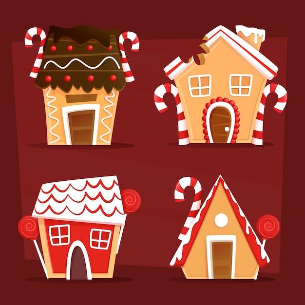 Kerst peperkoek huis collectie Gratis Vector