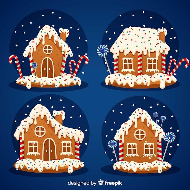 Kerst peperkoek huizen collectie Gratis Vector