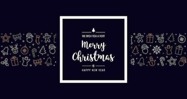 Kerst pictogram elementen frame groet banner achtergrond Premium Vector