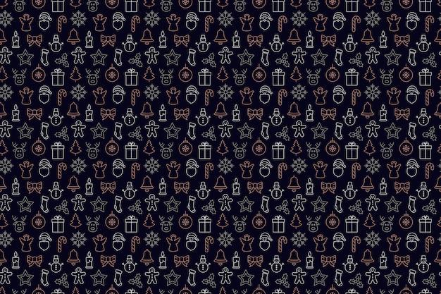 Kerst pictogram sieraad elementen naadloze patroon achtergrond Premium Vector