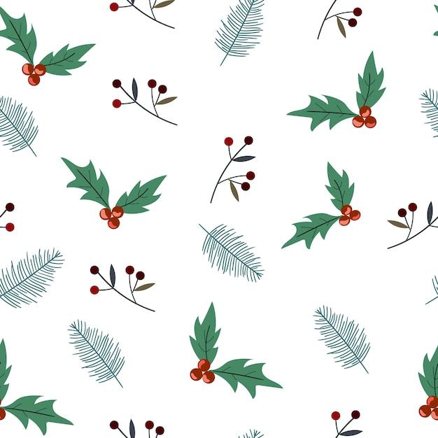 Kerst plant naadloze patroon Premium Vector