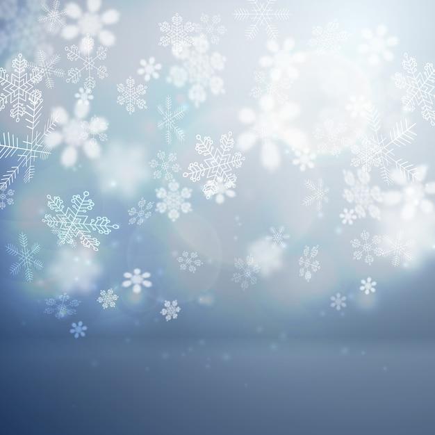 Kerst platte achtergrond met vallende sneeuwvlokken vector illustratie Gratis Vector