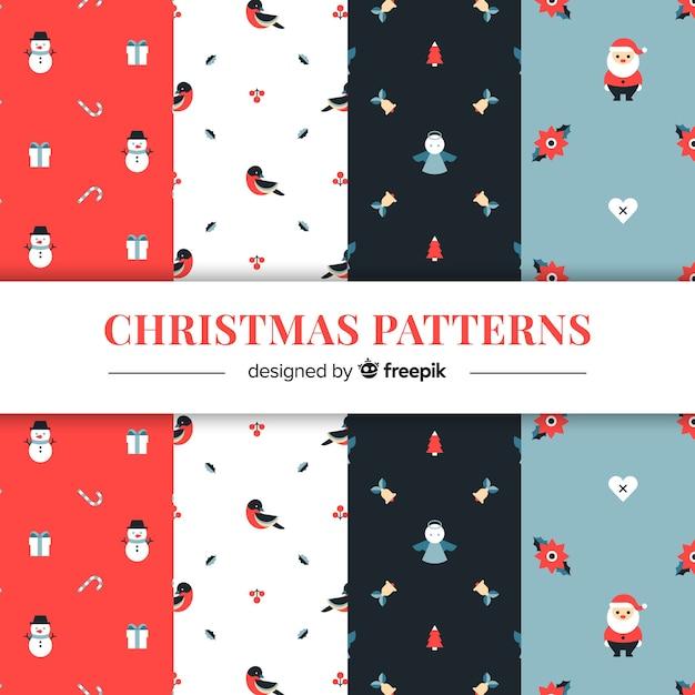 Kerst platte elementen patronen Gratis Vector