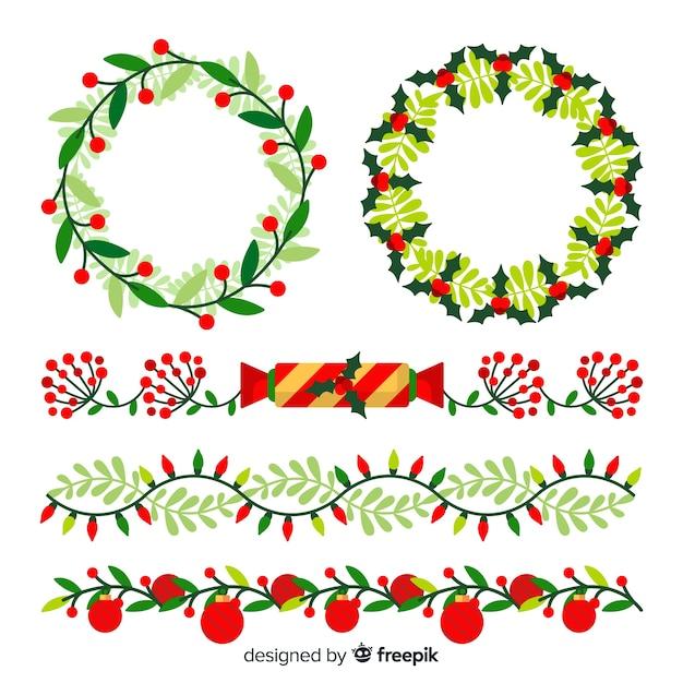 Kerst platte randen en kransen Gratis Vector