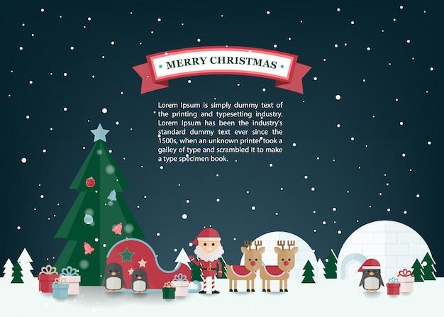 Kerst platte vector met santa claus, rendieren slee in winter dorp. christmas wenskaart. Premium Vector