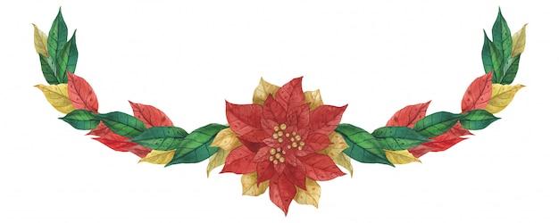 Kerst poinsettia garland Premium Vector
