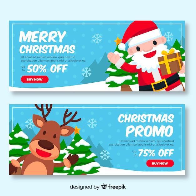 Kerst promo verkoop banner in plat ontwerp Gratis Vector