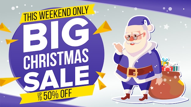 Kerst sale banner met klassieke kerstman Premium Vector