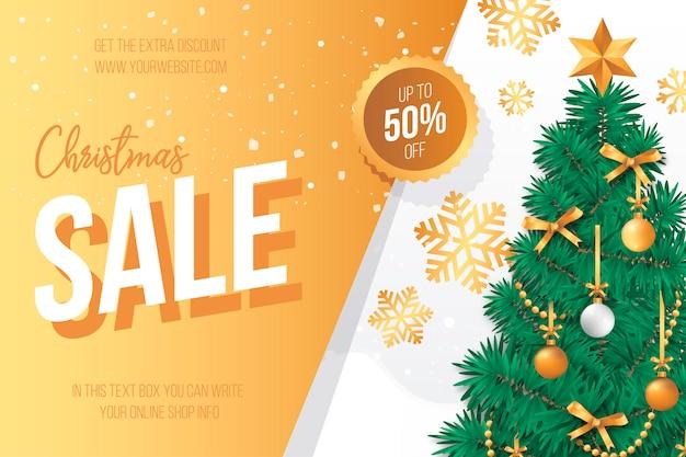 Kerst sale banner met mooie kerstboom Gratis Vector