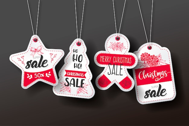 Kerst sale tag collection Gratis Vector