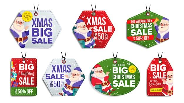 Kerst sale tags set Premium Vector