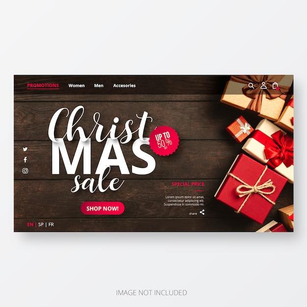 Kerst sale website template Gratis Vector