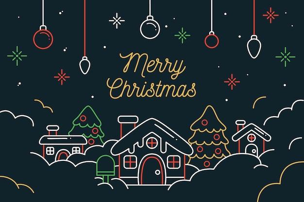 Kerst scène achtergrond in kaderstijl Gratis Vector