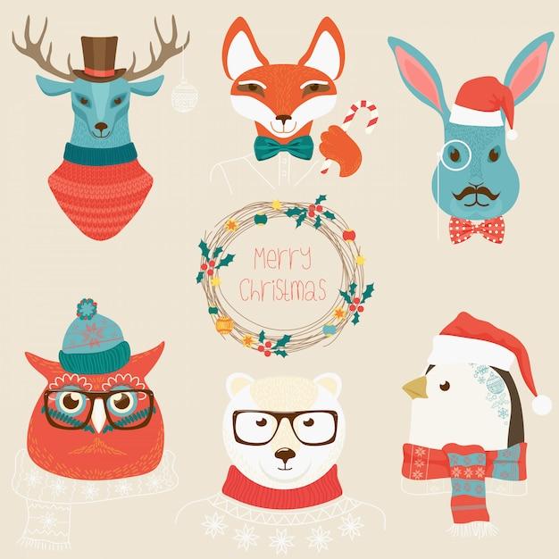 Kerst schattige bosdieren hoofden logo set Premium Vector