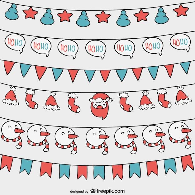 Kerst slingers set Gratis Vector