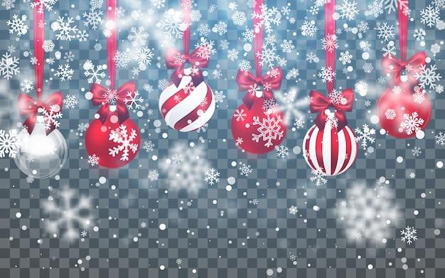 Kerst sneeuw. vallende sneeuwvlokken op donkere achtergrond Premium Vector
