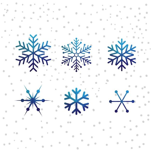 Kerst sneeuw vector icon set Premium Vector