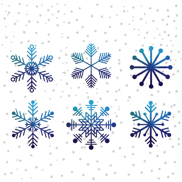 Kerst sneeuw vector icon set Premium Vector