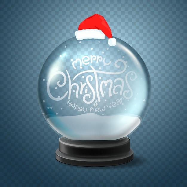 Kerst sneeuwbol met kerstmuts en belettering inscriptie. vrolijk kerstfeest en een gelukkig nieuwjaar Premium Vector