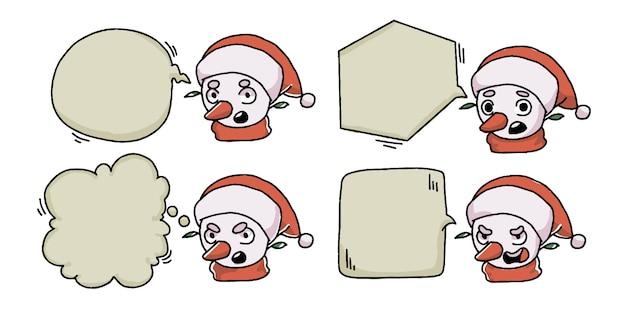 Kerst sneeuwpop bubble chat banner set Premium Vector