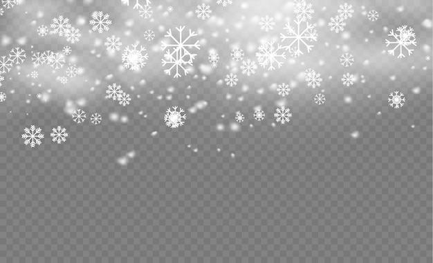 Kerst sneeuwvlok patroon. sneeuwval, sneeuwvlokken in verschillende vormen en vormen. veel witte koude vlokkenelementen op transparante achtergrond. magische witte sneeuwval textuur. illustratie. Premium Vector