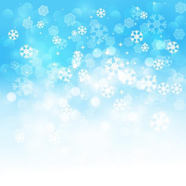 Kerst sneeuwvlokken achtergrond Premium Vector