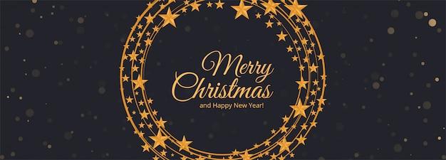 Kerst sneeuwvlokken sterren banner kaart Gratis Vector