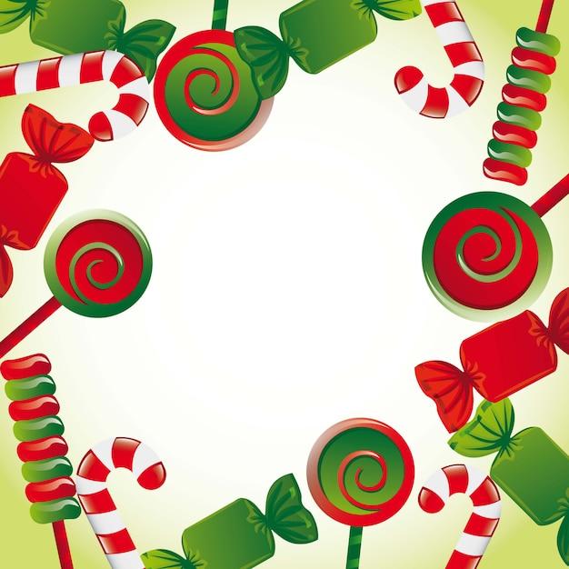 Kerst snoepjes met ruimte voor kopie vectorillustratie Premium Vector