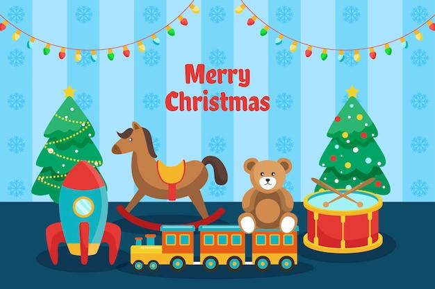 Kerst speelgoed achtergrond in plat ontwerp Gratis Vector