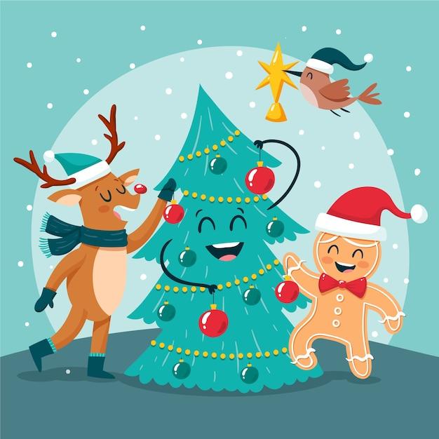 Kerst stripfiguren Gratis Vector